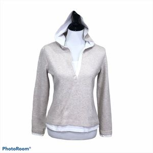 Sonoma long sleeve quarter button hooded top